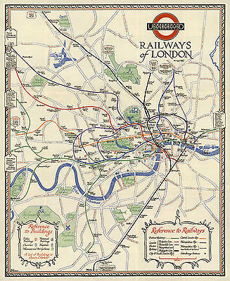 1928 Pictorial Map Underground Railways of London Railroad Subway History Poster