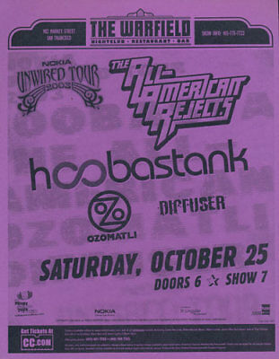 Hoobastank All-American Rejects Ozomatli Warfield San Francisco '03 Flyer Purple