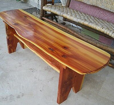 RECLAIMED Red CEDAR Slab WOOD Coffee TABLE Bench USA Handmade FOLK ART Rustic