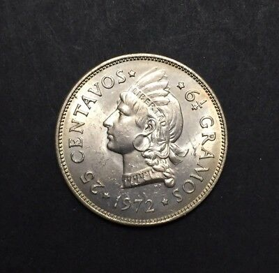 Dominican Republic 1972 25 Centavos High Grade. Very Scarce in that Condition