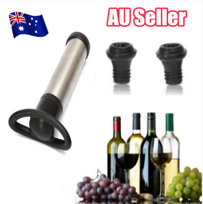 Reusable Bottle Vacuum Wine Preserver Saver Sealer Pump With 2 Stoppers ON