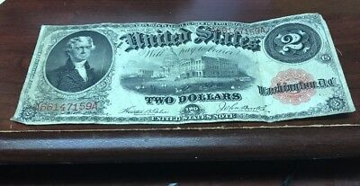 1917 $2 Two Dollar Bill Red Seal United States Legal Tender Large Currency Note