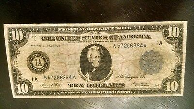 """1914 $10 Federal Reserve"""" CONTEMPORARY REPRINT"""" LARGE NOTE #384"""