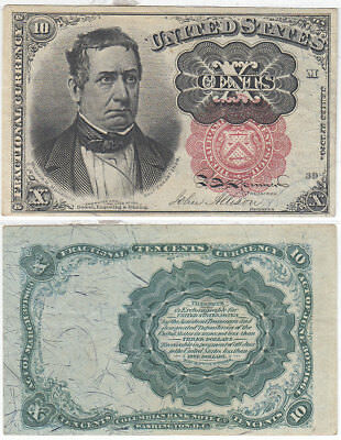 10 Cent 5th Issue Fractional Currency F-1265 Long Thin Key Meredith Choice AU