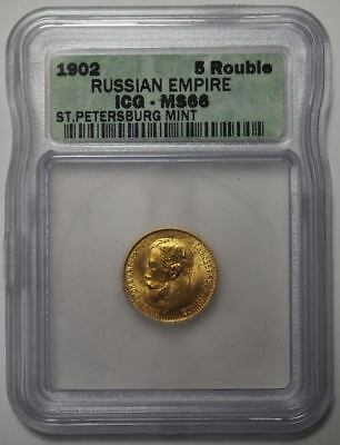 1902 ICG MS66 Russian Empire Gold 5 Rouble St. Petersberg Mint