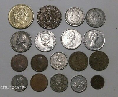 18 PC Foreign Some Silver, Coin Lot (Various Countries, Dates, Grades, Metals)