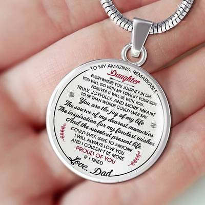 To My Amazing Remarkable Daughter Necklace Gift from Father - Great for Birthday