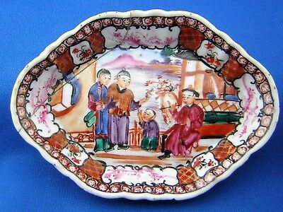 ANTIQUE CHINESE  PORCELAIN FAMILLE ROSE ' Mandarin Pattern ' SPOON TRAY - 18th.C