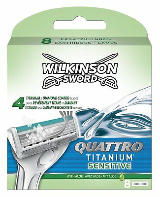 Wilkinson Sword Quattro Titanium Sensitive Razor Blades 8 Pack