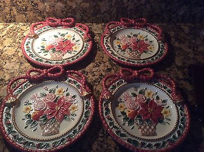 NIB - Set Of Four - 1996 Fitz And Floyd Father Christmas Poinsettia Plates
