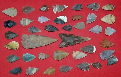 "39 PC Flint Arrowhead Ohio Collection Points 1-3"" Spear Bow Knife Hunting Blade"