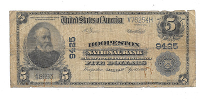 Large 1902 $5 Hoopeston National Bank Illinois Charter 9425