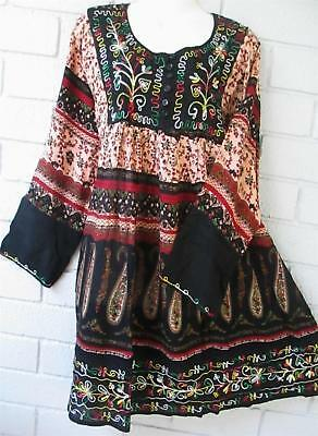 "Gypsy Hippy 6 Button Boho  Tunic Top   Bs  12 14 16 18 20   43 - 49""bust"