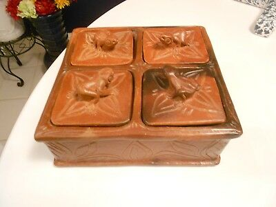 """Frog Pottery Storage 4 Compartment  Box 4 Lid -Vg+  7 1/2"""" X 7 1/2"""" X 3 1/4"""""""