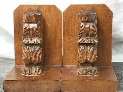 Pair Small Vintage Scottish Terrier Carved Wood Sculptures Bookends
