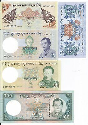 Bhutan 1, 5, 10, 20, 100 Ngultrum Uncirculated Banknotes