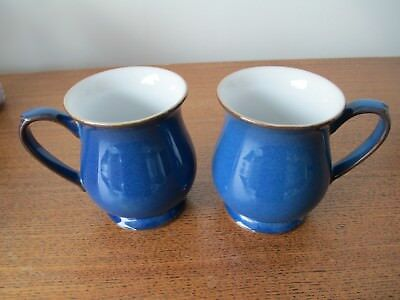 Pair Denby Imperial Blue Craftsman Mugs - Excellent Condition