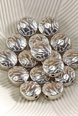 Tibetan Style Antique Silver 10mm Grooved Lentil Spacer Beads Lot of 10 Pieces