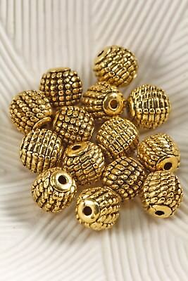 Tibetan Style Antique Gold Tone 9mm Round Raised Spacer Beads 10 Pcs Order