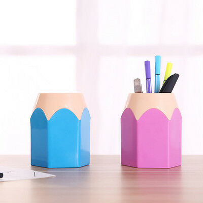 Makeup Brush Pencil Holder Pen Box Office Desk Organizer Stationery Cups Storage
