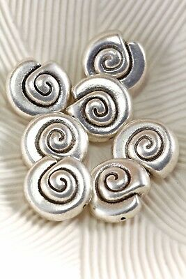 Tibetan Silver Antique Silver 14mm Helix Shell Spiral Spacer Beads Lot of 4 Pcs