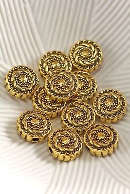 Tibetan Style Antique Gold 10mm Floral Flat Round Spacer Beads Lot of 10 Pcs