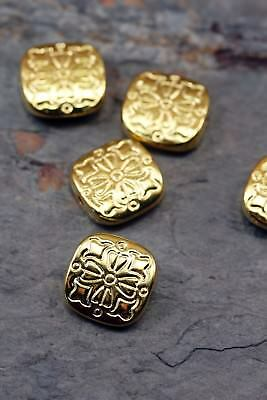 Tibetan Style Antique Gold 10.5mm Floral Flat Square Spacer Beads Lot of 8 Pcs