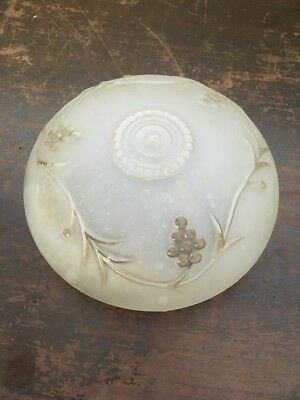 "Vintage Frosted Glass Ceiling Light Shade Cover Grape Vine Design 6"" Dia Mouth"