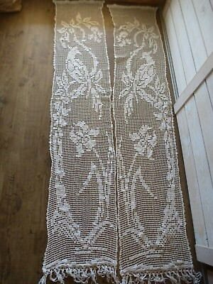 2 Rideau Ancien Filet Coton Art Deco Art Nouveau  Linge Ancien Old Fabric
