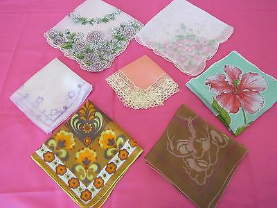 7Assorted Handkerchiefs  Vintage?? Florals Pinks Orange Lace Edge Browns