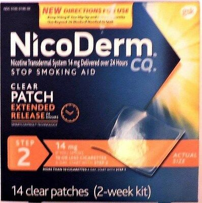 NicoDerm CQ Step 2 Clear Patches 14mg. 14 patches 2 week kit.exp. Jan.-Feb. 2018
