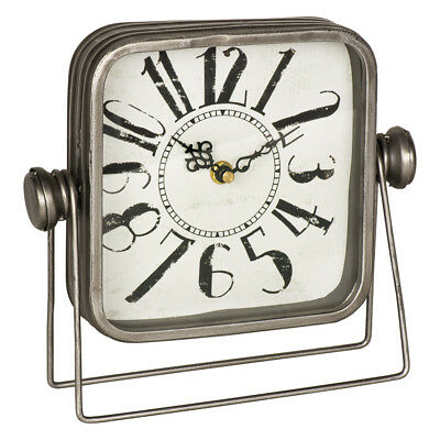 Vintage Style Silver Grey Metal Square Mantel Desk Shelf Clock with Stand