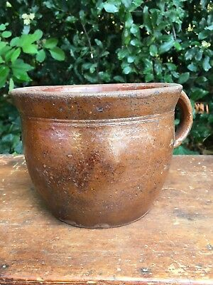 Antique 19th c Mottled Glazed Redware Apple Butter Table Crock Pennsylvania AAFA
