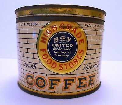 Hgf High Grade Food Stores Vintage Coffee 1 Pound Tin With Brick Wall Graphics