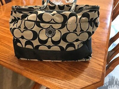 Coach  Canvas Black/gray Signature Logo Tote/diaper Bag