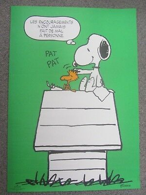 Vintage Peanuts Snoopy FRENCH poster Charlie Brown Woodstock Hallmark 1973 PP13