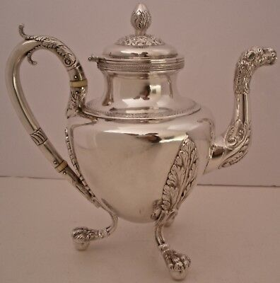 Gorgeous American Empire 1820 Coin Silver Lion Head Paws Teapot Gerardus Boyce