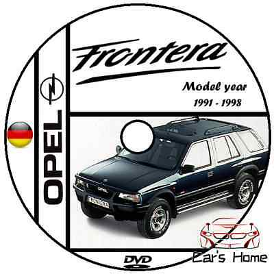 MANUALE OFFICINA OPEL FRONTERA my 1991-1998 WORKSHOP MANUAL SERVICE DVD