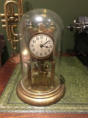 antique brass torsion anniversary dome clock +other part