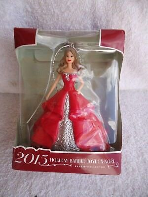 2015 Holiday Barbie Doll Christmas Ornament Joyeux Noel (Brown Hair) ~ New!
