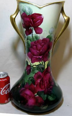 """Gorgeous Antique Limoges Hand Painted Red Roses 16"""" Tall! Vase Signed By Artist"""