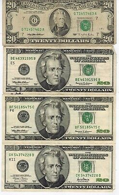 Lot of Four (4) RARE SMALL FACE Twenty Dollar Bills $20 in GOOD CONDITION LOOK