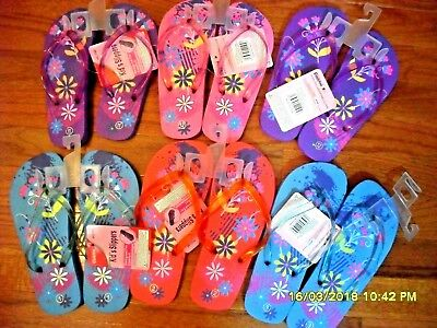 Wholesale Bulk Lot 24 Girls' Colored Strap Floral Flip Flops Printed 11-3