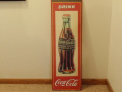 """12"""" x 36"""" Wooden Coca Cola Bottle Sign Made In U.S.A. 1931 by Dasco"""