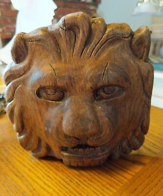 Antique Vintage Hand Carved Solid Wood Lion Head Wall Decor Pediment