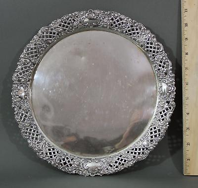 Antique circa-1900 Continental .800 Silver Tray w/ Repousse Border, NR