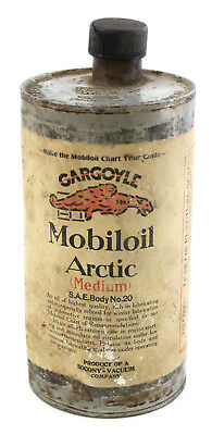 Antique Mobiloil Gargoyle Arctic Medium SAE No.20 One Quart Tin Can Mobil Oil
