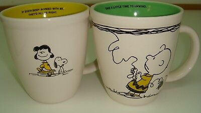 Hallmark Peanuts Lucy/Snoopy & Charlie Brown with Kite Mugs Set of 2 Year 2010