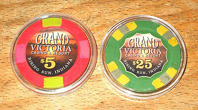 $5. & $25. GRAND VICTORIA CASINO CHIPs - RISING SUN, INDIANA - 2 Chip Sample Set
