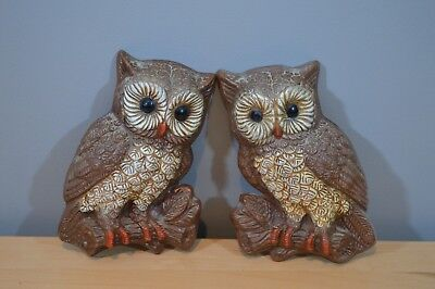 Vintage Set of 2 Owl Wall Hangings Retro Kitchen Decor hard foam 1970s